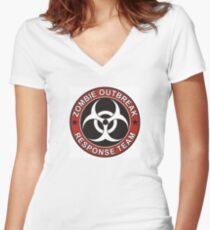 Zombie Outbreak Response Team Version 3 Women's Fitted V-Neck T-Shirt