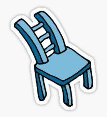 Blue Cartoon Stylized Bendy Chair  Sticker