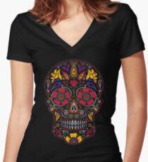 Day of the Dead Sugar Skull Dark Women's Fitted V-Neck T-Shirt