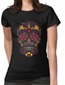 Day of the Dead Sugar Skull Dark Womens Fitted T-Shirt