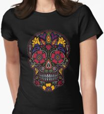Day of the Dead Sugar Skull Dark Women's Fitted T-Shirt