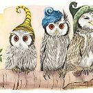 Strange Whitefaced Owls by Goldeen Ogawa