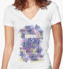 Burning Up A Sun Just To Say Goodbye Women's Fitted V-Neck T-Shirt