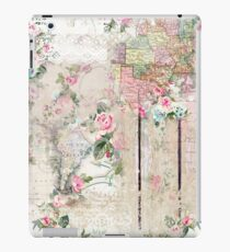 Vintage Paper With Pik Roses & Partial Maps iPad Case/Skin