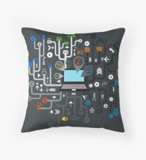 Music the computer Throw Pillow