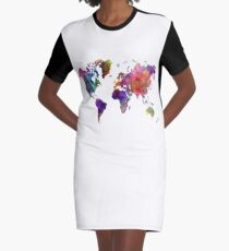 World map in watercolor  Graphic T-Shirt Dress