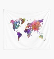 World map in watercolor  Wall Tapestry