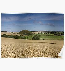 Silbury Hill and crop circle Poster