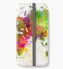 World map in watercolor  iPhone Wallet/Case/Skin
