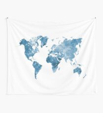 World map in watercolor blue Tapestry