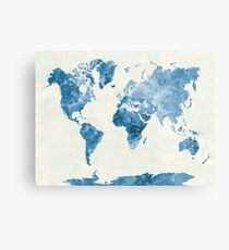 Travel abstract art background color colorful concept continent world map in watercolor blue metal print gumiabroncs