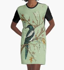 Magpie Birds Graphic T-Shirt Dress