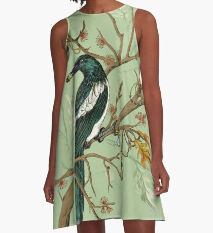 Magpie Birds A-Line Dress