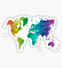 World map in watercolor rainbow Sticker