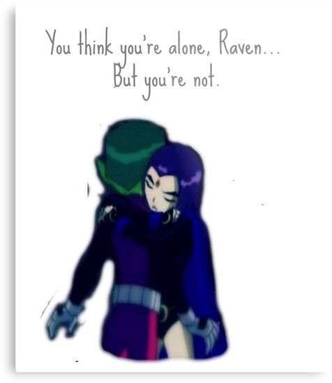 Beast Boy and Raven hug/quote by dannphan29