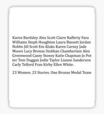 England Women Bronze Medalists Sticker