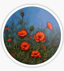 Red Poppies: Painting of Red Poppy Flowers, Flower Art Sticker