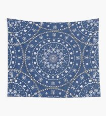 Blue White Mandalas Wall Tapestry