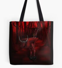 Red Bull in the red forest Tote Bag