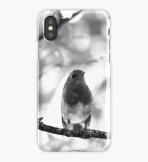 Robin black and white iPhone Case/Skin