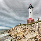 Dark Day at Crisp Point Lighthouse by Kenneth Keifer