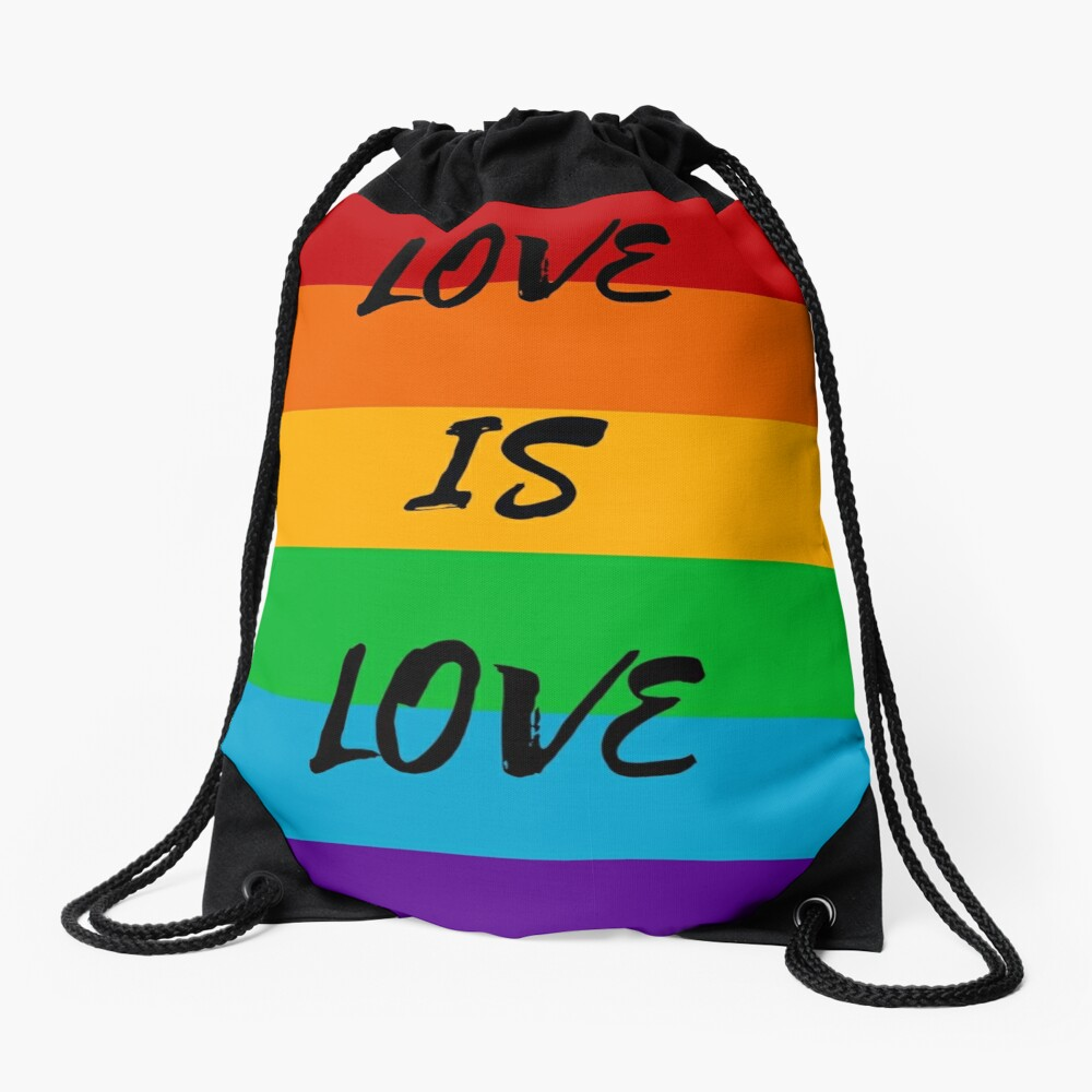 Love is Love Rainbow Flag Drawstring Bag