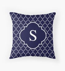 Navy Blue Quatrefoil White Monogram S Throw Pillow