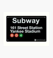 Yankees Subway Sign Art Print