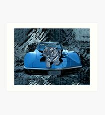 ILV2EAT-TIGER - CAR - PICTURE/CARD CREATIONS BY RAPTURE777 Art Print