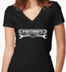 Pantrho's Parts and Service (white) Women's Fitted V-Neck T-Shirt