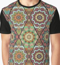 Rhombus Boho Flower Tile Pattern Graphic T-Shirt