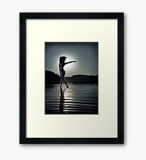 Woman dancing in moonlight under full moon on the water art photo print Framed Print