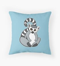 Sitting Ring-Tailed Lemur Throw Pillow