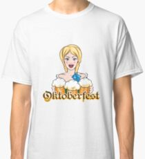 Girl with Beer Mugs Emblem Classic T-Shirt