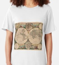 Vintage Map of The World (1672) 2 Slim Fit T-Shirt