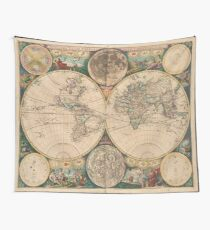 Vintage Map of The World (1672) 2 Wall Tapestry