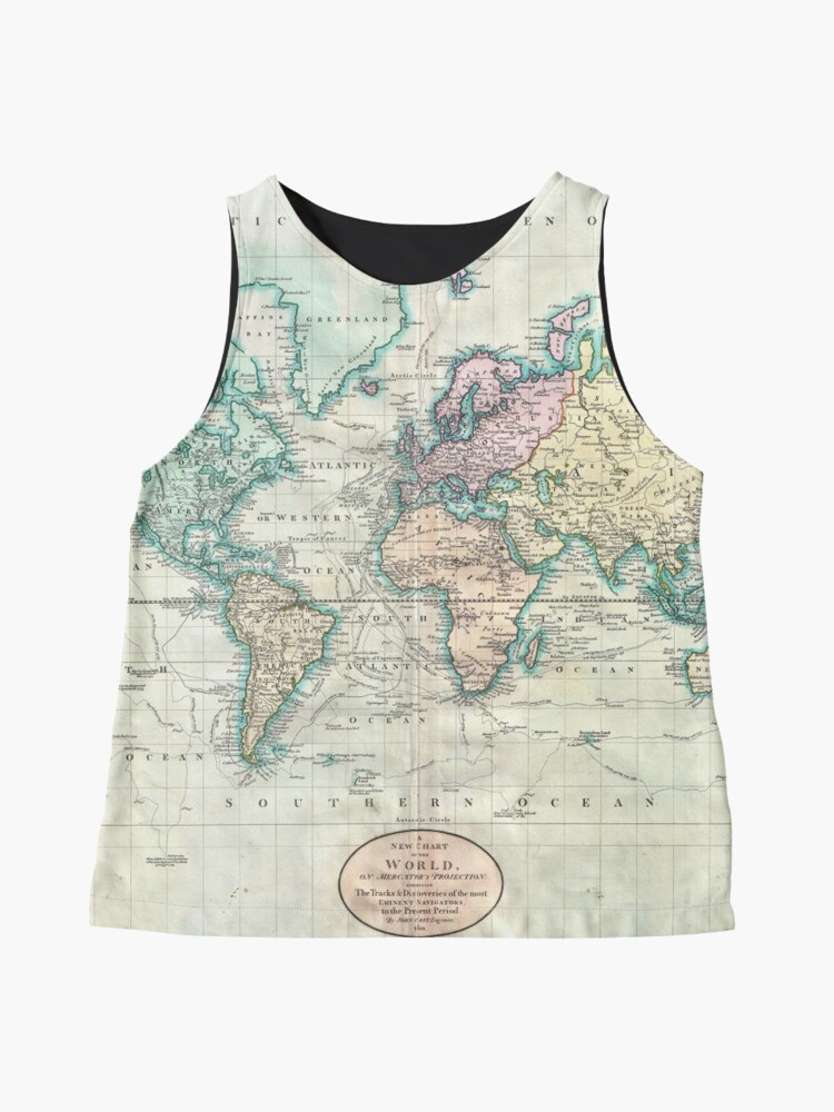 Alternate view of Vintage Map of The World (1801) Sleeveless Top