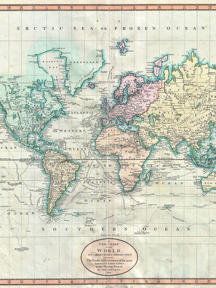 Vintage Map of The World (1801) by BravuraMedia