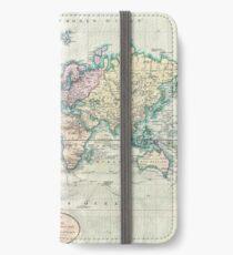 Vintage Karte der Welt (1801) iPhone Flip-Case/Hülle/Skin