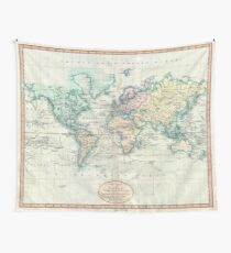 Vintage Map of The World (1801) Tapestry
