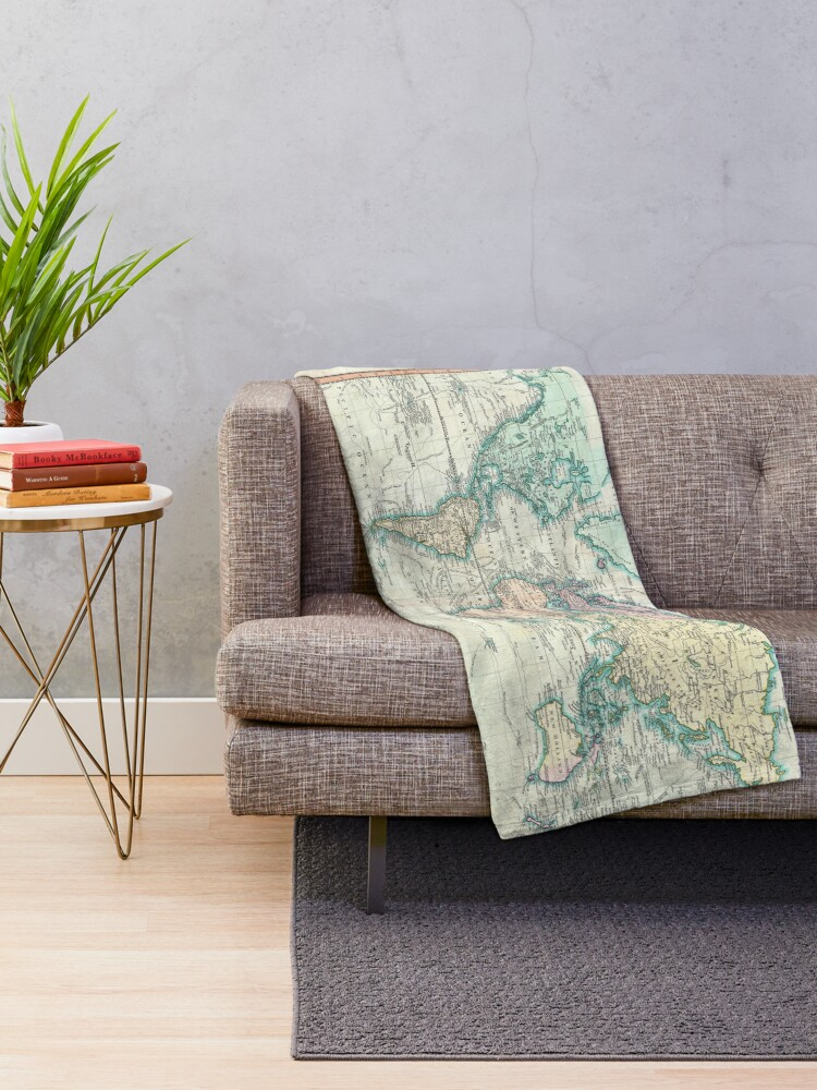 Alternate view of Vintage Map of The World (1801) Throw Blanket