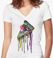 Pop Pizza Women's Fitted V-Neck T-Shirt
