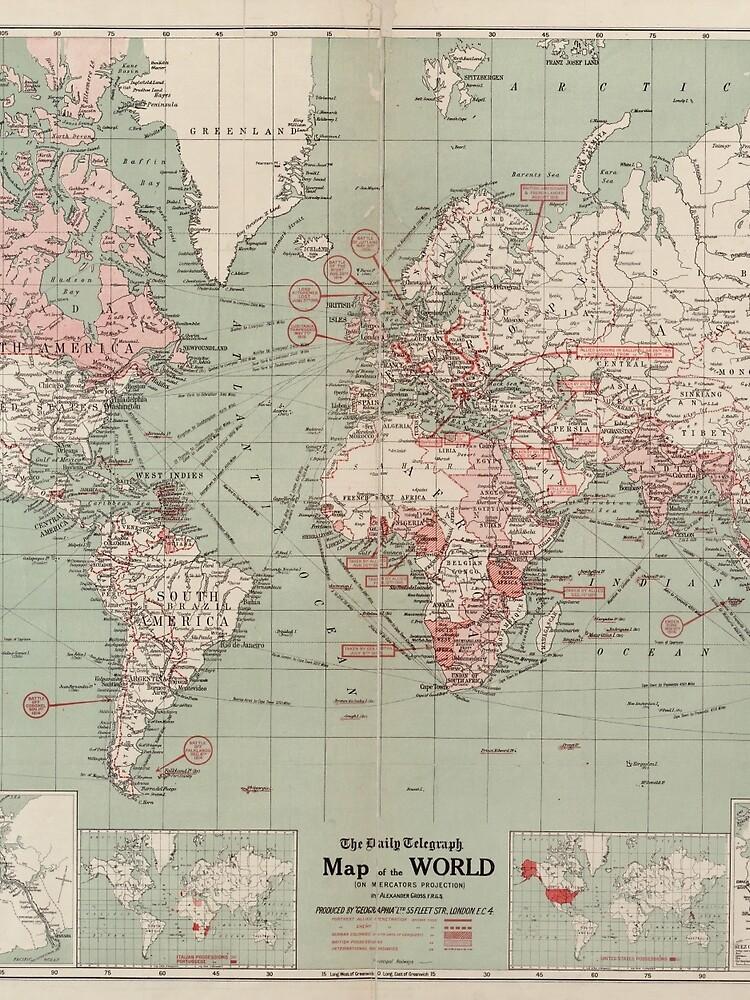 Vintage Map of The World (1918)  by BravuraMedia