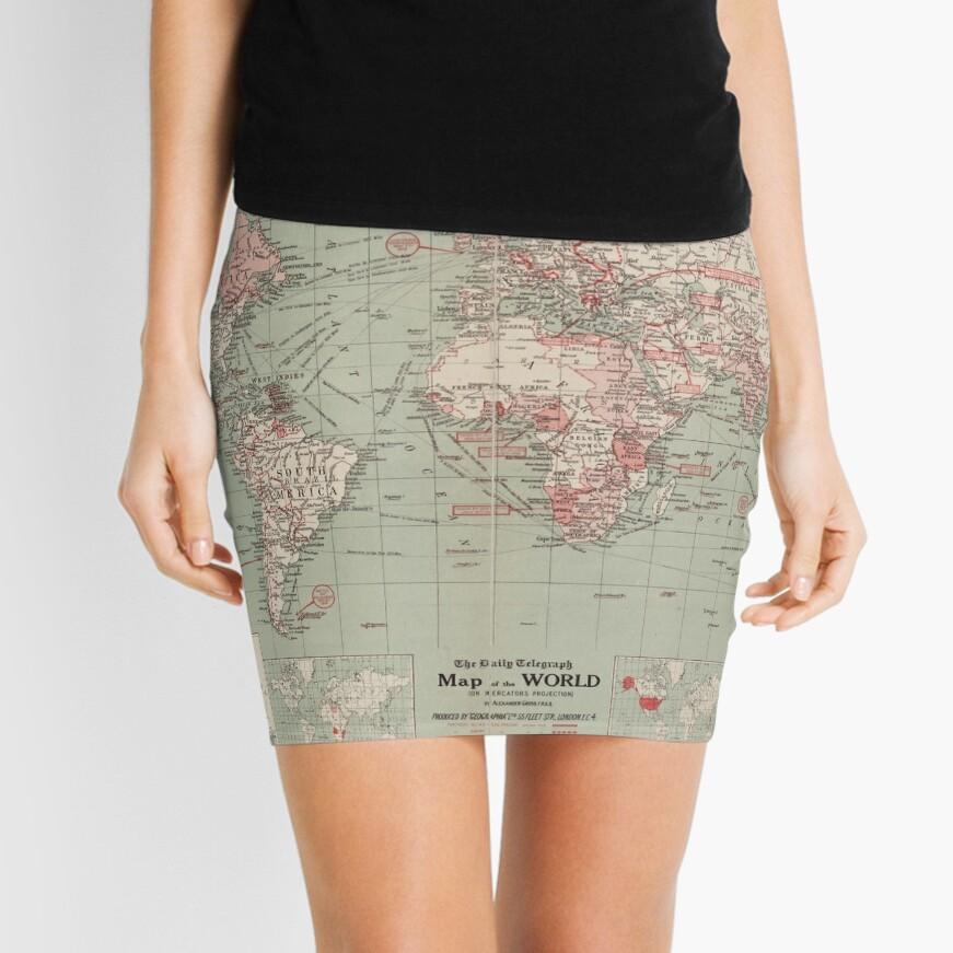 Vintage Map of The World (1918)  Mini Skirt