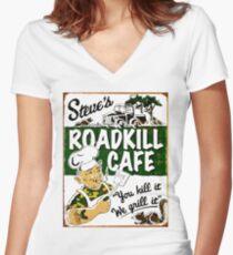 """""""STEVE'S ROADKILL CAFE"""" Vintage Advertising Print  Women's Fitted V-Neck T-Shirt"""