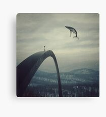 Boy and the flying whale Canvas Print