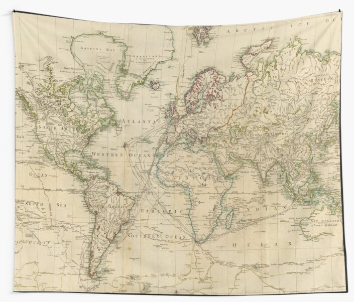 Vintage Map Of The World 1800 Wall Tapestries By Bravuramedia