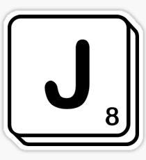 J scrabble print Sticker