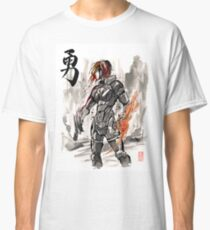 Female Shepard with Japanese Calligraphy Courage Classic T-Shirt