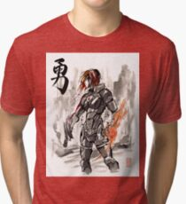 Female Shepard with Japanese Calligraphy Courage Tri-blend T-Shirt